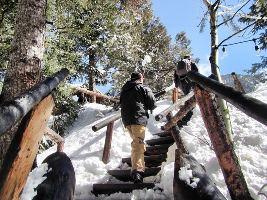 T-Lazy-7 Ranch: going up the klondike cabin for lunch