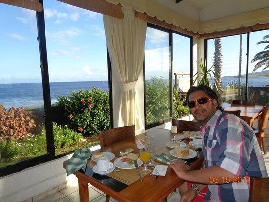 Vista de restaurant, buffet de desayuno