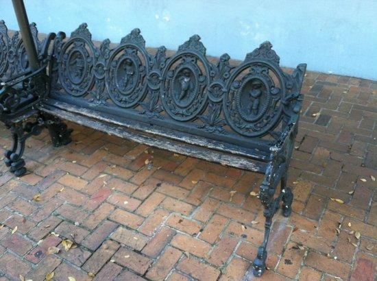 Jean Lafitte House: curb bench: unusable