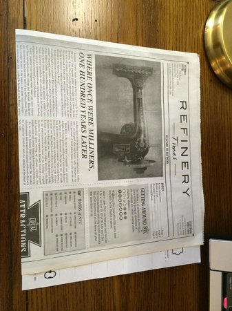 Refinery Hotel: Newspaper with info on the Hotel and local activity suggestions