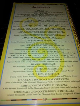 "The Cheesecake Factory: Carte des cheesecakes classiques, il y une 2e page avec les ""alleges"""