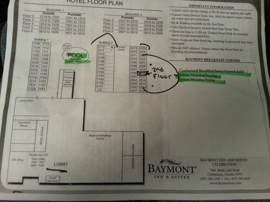 Baymont Inn & Suites Celebration: Map of the hotel buildings