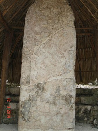 Ruines de Cobá : This is a stellae, which depicted the date and a picture of a god.
