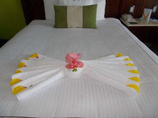 Azul Ixtapa Grand Spa & Convention Center : our bed, different design everyday, awsome