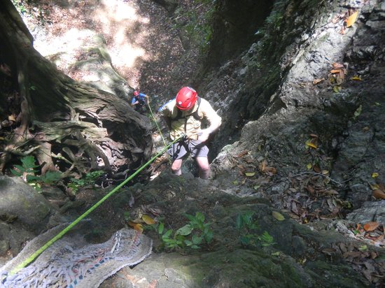 Everyday Adventures Day Tours: Guest rapelling a dry waterfall