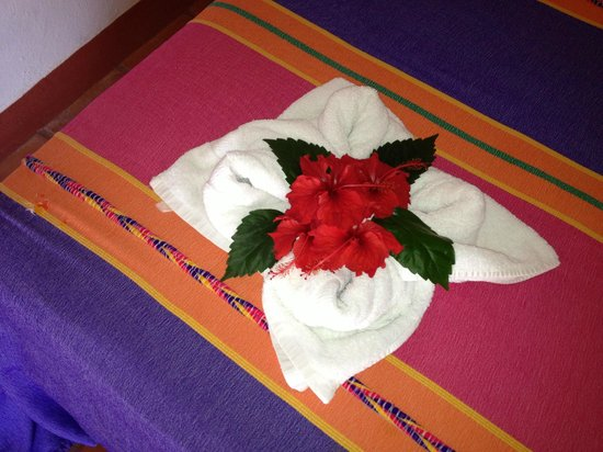 The Inn at Manzanillo Bay: Towel with hibiscus upon arrival