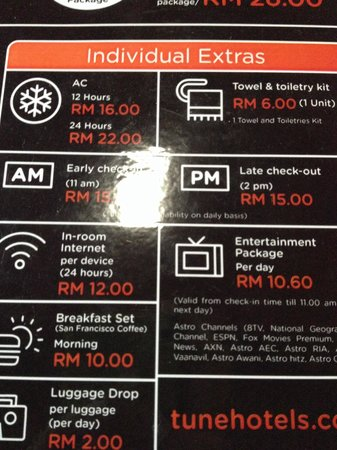 Tune Hotel - Downtown Kuala Lumpur : Add price at hotel