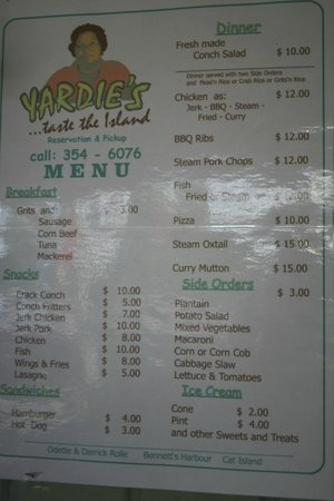 Yardie's Restaurant, Bar and Conch Stand: menu