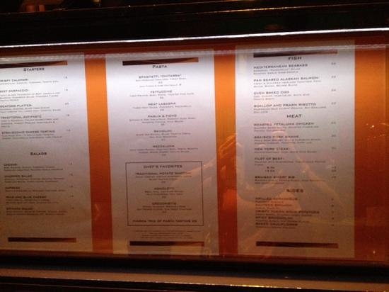 Fiamma Italian Kitchen: the menu