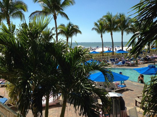 "Pink Shell Beach Resort & Marina : view of pool and beach from our ""Sanibel"" room"