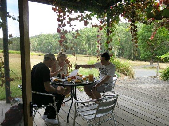 Valley Farm Vineyard: having breakfast on the deck in the morning