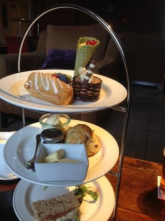 Rudding Park Hotel: Afternoon tea - yum; we already ate two sandwiches before I got the camera out!
