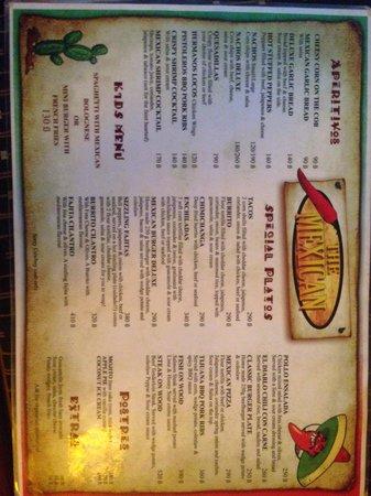The Mexican : menu
