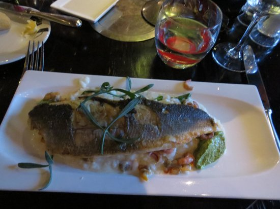 Belga Queen: Sea Bass on bed of risotto with shrimp