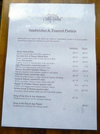 Bridge of Cally Hotel: Snack menu