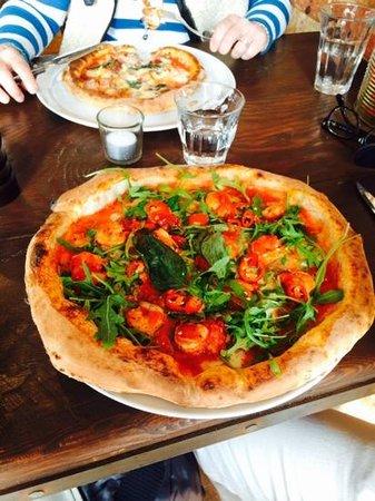 Baffi Canford Cliffs: tiger prawn pizza, chilli, garlic, rocket - it was excellent