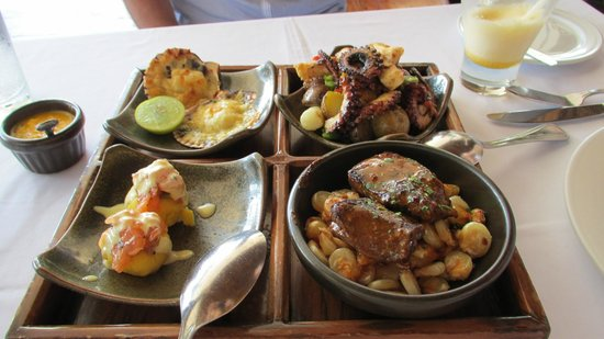 Appetizer Sampler at Huaca Pucllana: Excellent Octaput and Beef Heart!