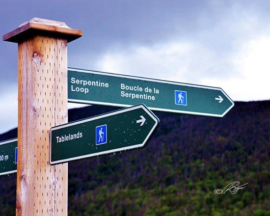 To The Tablelands.  Parking lot sign - Tablelands, Gros Morne National Park, Newfoundland.