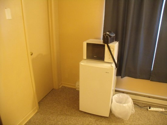 The Vintage Inn: Microwave and mini fridge