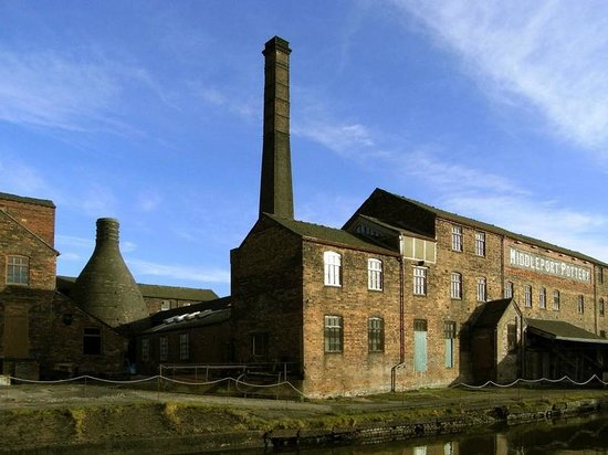 Burslem, UK: The pottery from the canal side.