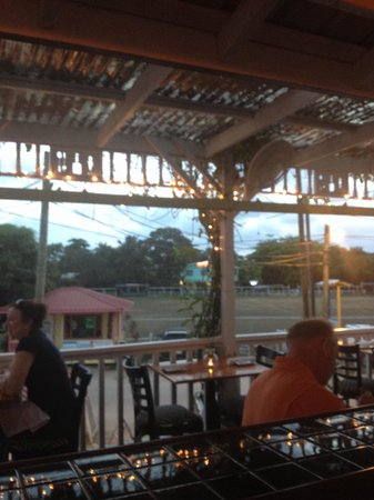 Rumfish y Vino: Suns going down, time to find a spot at Rum Fish. Looking out to the village.