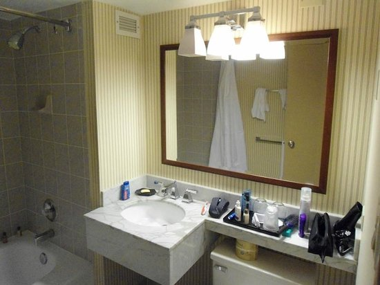 Sheraton Centre Toronto Hotel: Little counter space and plug to the right