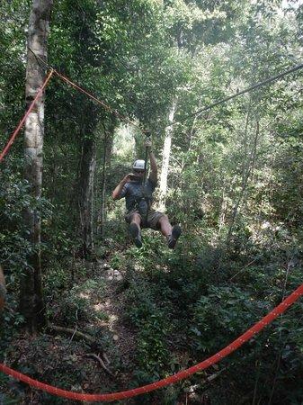 Selva Maya Eco Adventure: Coming in on the zipline!