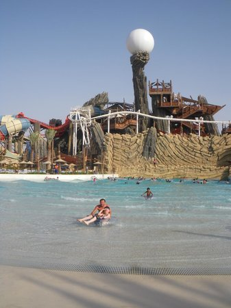 Yas Waterworld Abu Dhabi: The Hunt for the Pearl: One of Yas Waterworld's swimming pool areas and the Waterworld's pearl.