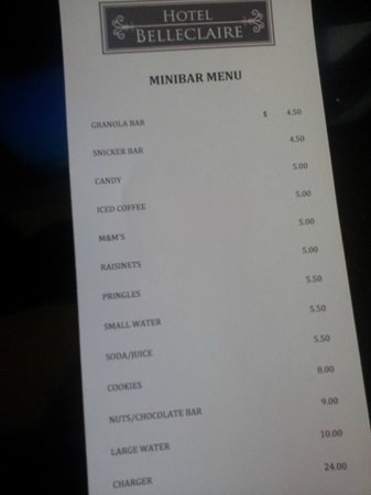 Hotel Belleclaire: Mini Bar price menu