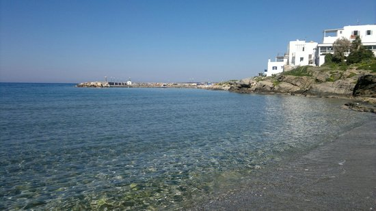 Beach in front of hotel. Katerina Mare is one of the white buildings