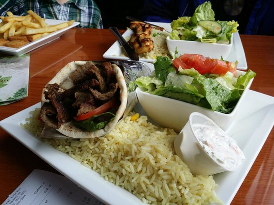 Grape Leaf Express: Beef and Lamb Gyro Platter