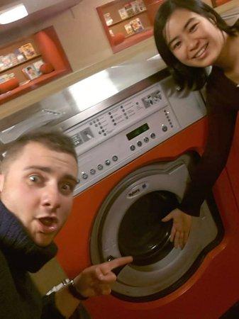 The Laundromat Cafe: Rune & Wojtek doing their laundry