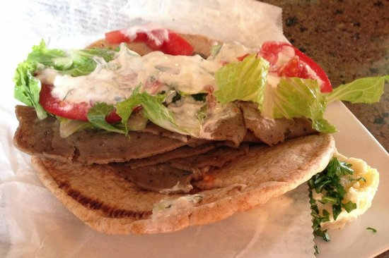 cafe zuppina: Gyro Sandwich and dollop of potato salad
