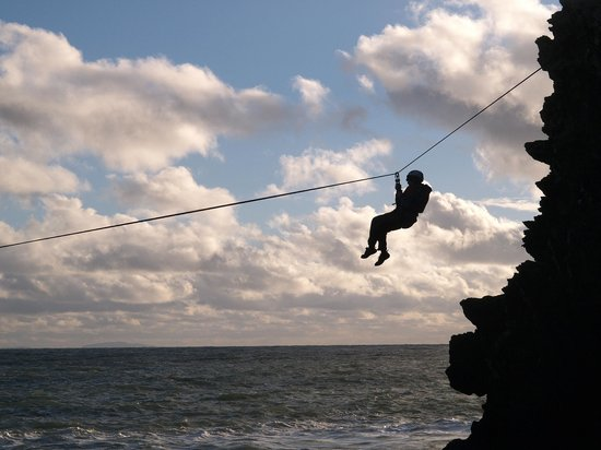 Arete Outdoor Centre Llanrug: Zip lines across zawns on the sea cliffs