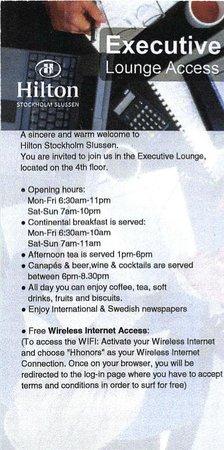 Hilton Stockholm Slussen: Executive Lounge - details