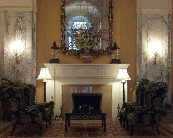 Lobby fireplace, The Hermitage Hotel.