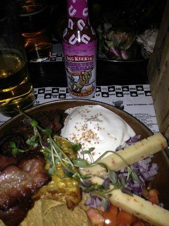 Garlic & Shots: Texas Chili.  More fajita style, combine it yourself.