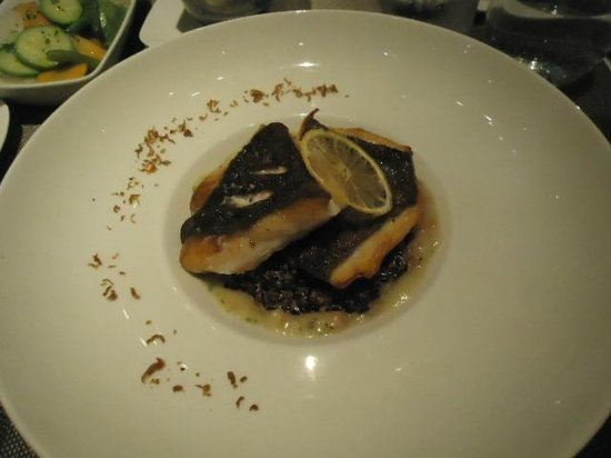 MB: Seabass with black risotto, yummy!!