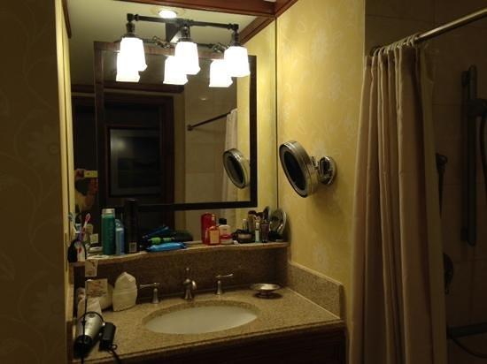 The Ritz-Carlton Reynolds, Lake Oconee: Please note the makeup mirror. Enough storage;granite sink. Very nice.