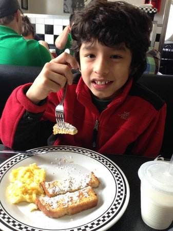 Local Diner: Kids menu is available French Toast & 1 Egg