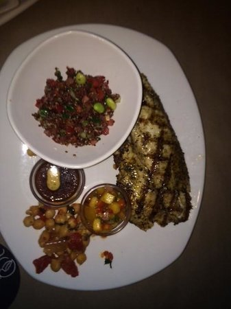 Bonefish Grill : Grilled Tilapiia w/Pan Asian Sauce and cold quinoa salad
