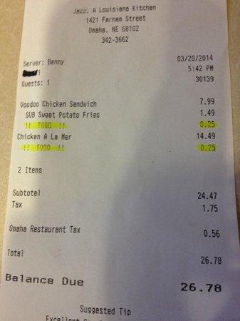 Jazz - A Louisiana Kitchen: 25 cents per item?