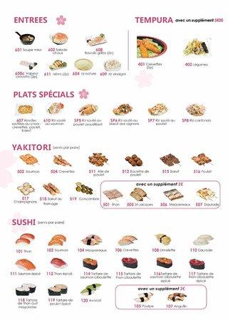 Horatu : carte du menu buffet