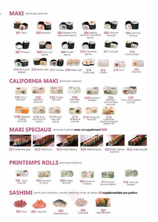 Horatu: carte du menu buffet