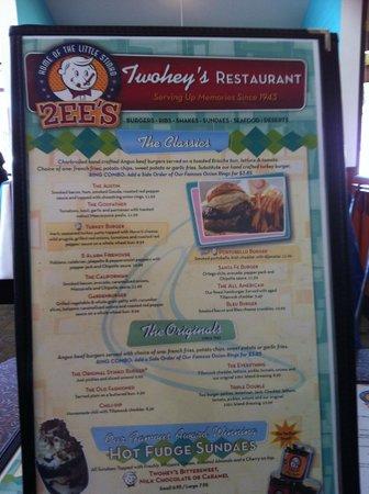 Twohey's Restaurant: Menu