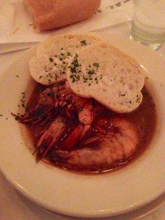 Half of the BBQ Shrimp dinner at Mr. B's Bistro