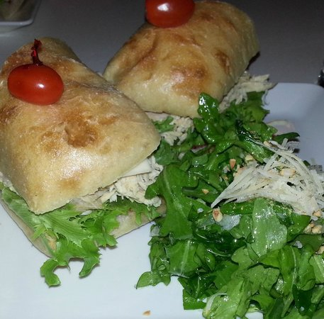 50 West Bistro : Turkey Ciabatta with Kale/Fennel (?) Salad.