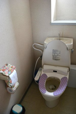 Nagamachi Yuzen Kan: Yuuzen toilet paper holders. Check out the basin behind the toilet seat!