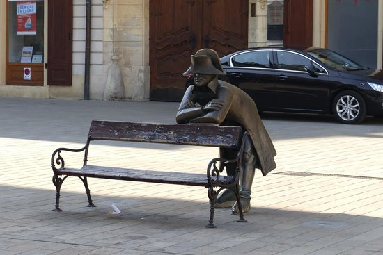 Plaza Mayor: Napoleon's Army Soldier on park bench