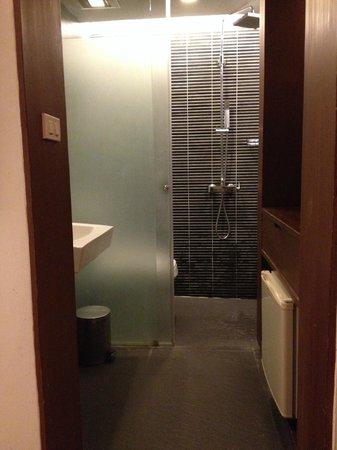 Sacha's Hotel Uno: bathroom looked dated....